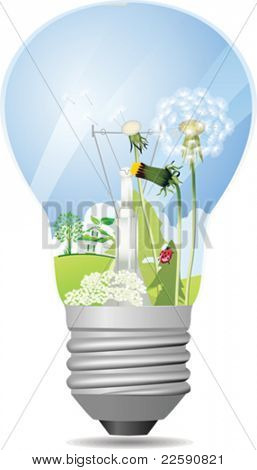 Green light bulb. All elements and textures are individual objects. Vector illustration scale to any size.