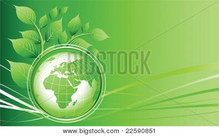 Green Earth background. All elements and textures are individual objects. Vector illustration scale to any size.