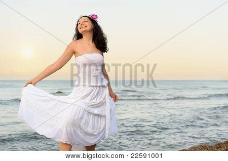 The Woman In A White Sundress On Seacoast