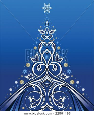 Christmas Tree Design. All elements and textures are individual objects. Vector illustration scale to any size.