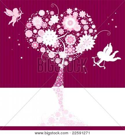 Valentine's day card. All elements and textures are individual objects. Vector illustration scale to any size.