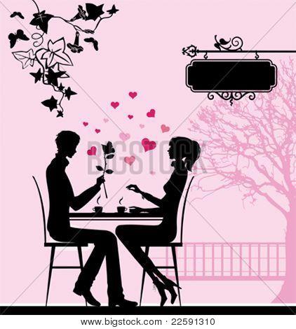 Silhueta do casal no café.  Todos os elementos e texturas são objetos individuais. Vector illu
