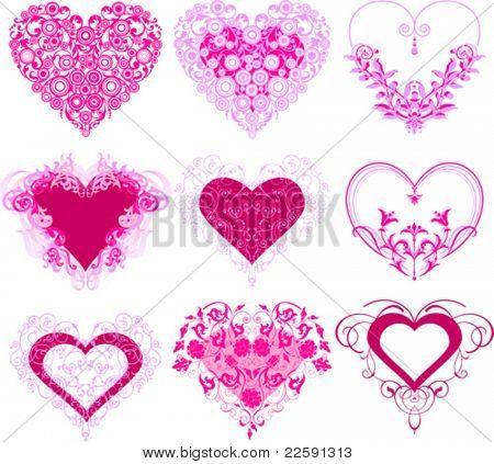 Corações vermelhos com ornamento de filigrana. Todos os elementos e texturas são objetos individuais. Vetor illustra