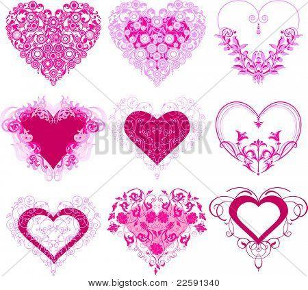 Corações vermelhos com ornamento de filigrana. Versão raster de ilustração vetorial.
