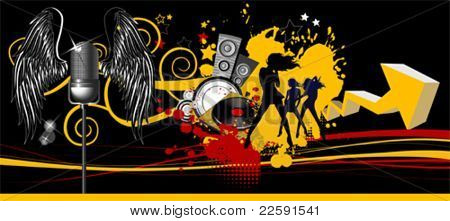 Music background. Dancing people. All elements and textures are individual objects. Vector images scale to any size.