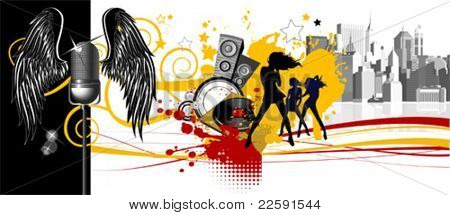 Music background.Dancing people. All elements and textures are individual objects. Vector images scale to any size.