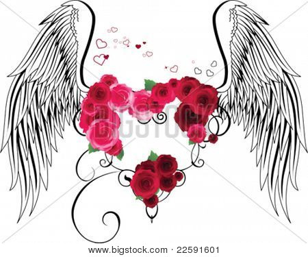 Heart with roses and wings. All elements and textures are individual objects. Vector illustration scale to any size.
