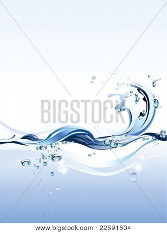Water Wave. All elements and textures are individual objects. Vector illustration scale to any size.