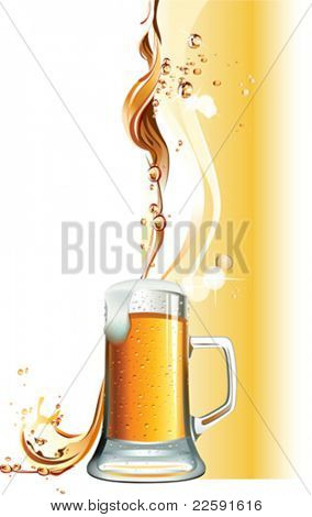 Beer mug. All elements and textures are individual objects. Vector illustration scale to any size.