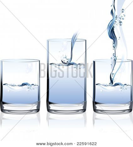 Glass of Water. All elements and textures are individual objects. Vector illustration scale to any size.
