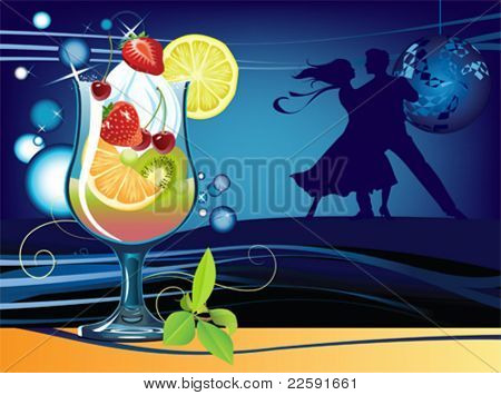 Cocktail. All elements and textures are individual objects. Vector illustration scale to any size.