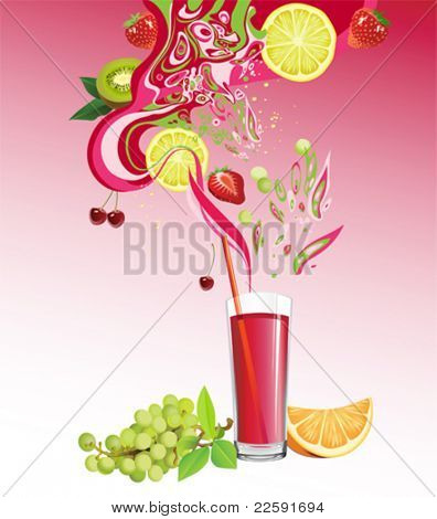 Juice and fruits. All elements and textures are individual objects. Vector illustration scale to any size.