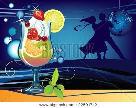Cocktail.  Raster version of vector illustration.