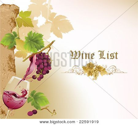 Design for wine list.  All elements and textures are individual objects. Vector illustration scale to any size.