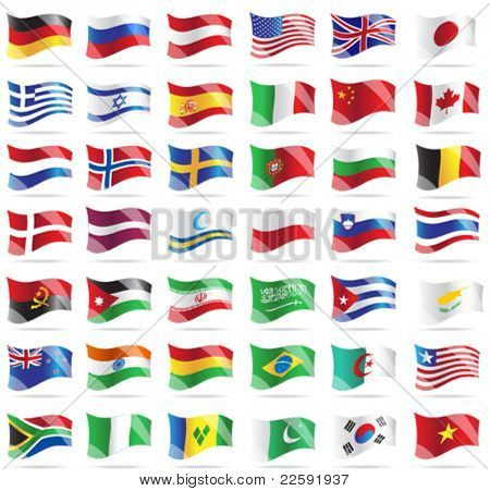 Set of flags. Glossy buttons. All elements and textures are individual objects. Vector illustration scale to any size