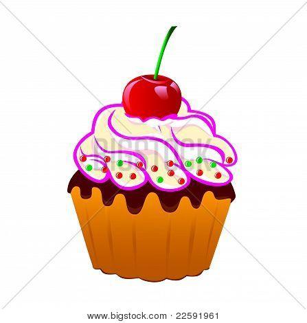 Cake With Cream And Cherries.