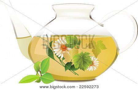 Glass teapot.  Raster version of vector illustration.