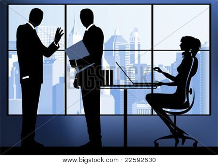 Businesswoman with colleagues in the urban background. All elements and textures are individual objects. Vector illustration scale to any size.