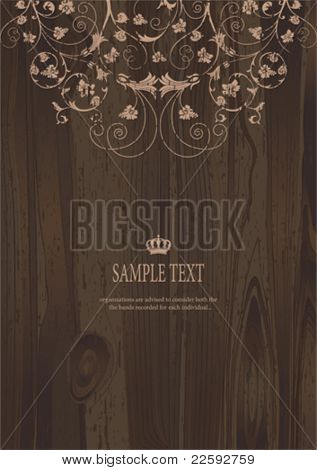 Wooden Floral. All elements and textures are individual objects. Vector illustration scale to any size.