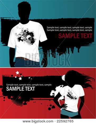 Woman's and man's t-shirt. All elements and textures are individual objects. Vector illustration scale to any size.