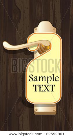Empty label on a door handle. All elements and textures are individual objects. Vector illustration scale to any size.