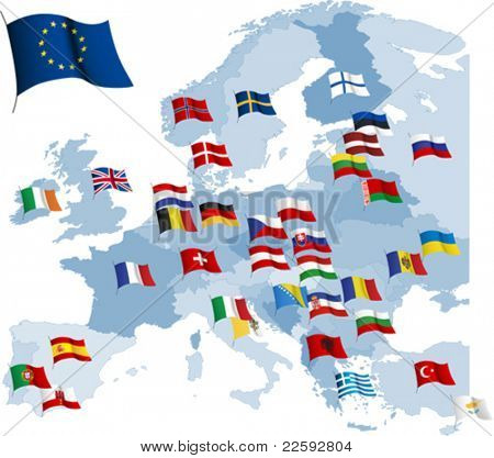 European country flags and map. All elements and textures are individual objects. Vector illustration scale to any size.