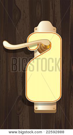 Empty label on a door handle. Raster version of vector illustration.