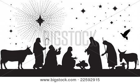 Star of Bethlehem. Raster version of vector illustration.