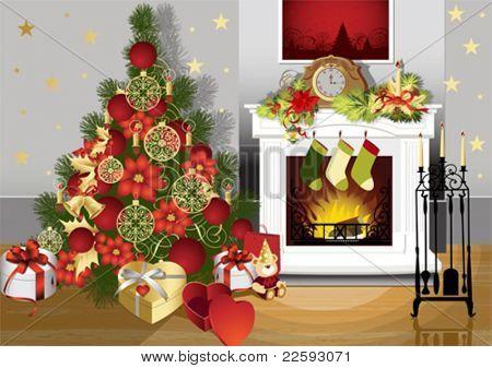 Kerstmis kamer met open haard en presenteert onder de boom. Alle elementen en texturen zijn individuele obje