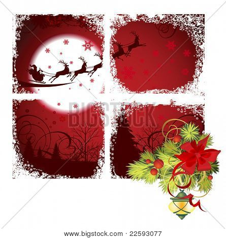 Christmas window. Raster version of vector illustration.