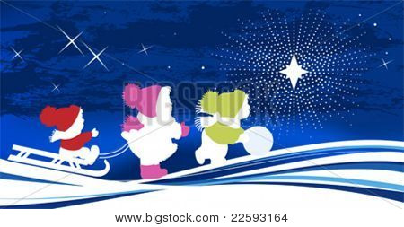 Children and Christmas Star. All elements and textures are individual objects. Vector illustration scale to any size.