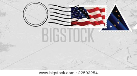 Postmark & Stamp with US flag.  All elements and textures are individual objects. Vector illustration scale to any size.