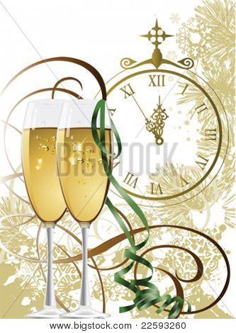 New Year. All elements and textures are individual objects. Vector illustration scale to any size.