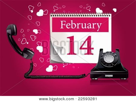 Retro phone with hearts. All elements and textures are individual objects. Vector illustration scale to any size.