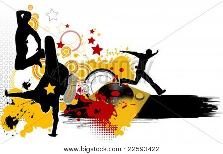 Dancing youth men. Music city. All elements and textures are individual objects. Vector illustration scale to any size.
