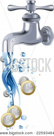 Water tap. Faucet. All elements and textures are individual objects. Vector illustration scale to any size.
