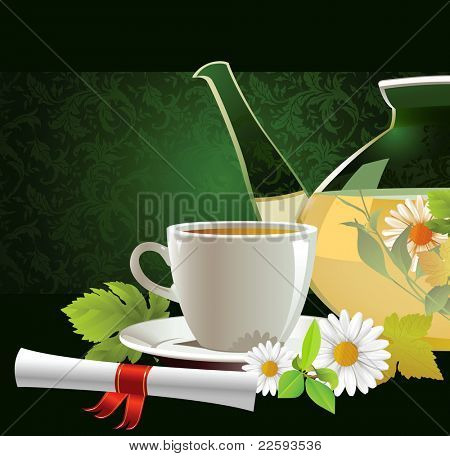Glass teapot and cup with tea.  Raster version of vector illustration.