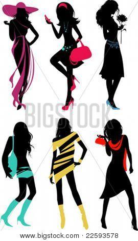 Glam shopping Mädchen. Alle Elemente und Strukturen sind einzelne Objekte. Vektor-Illustration-Skala bis