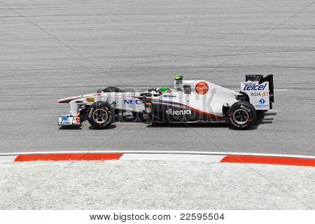 Sepang, Malaysia - April 8: Sergio Perez (team Sauber) At First Practice On Formula 1 Gp