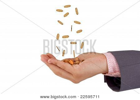 Hands And Falling Coins