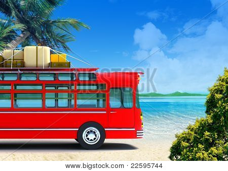 red bus adventure on beach