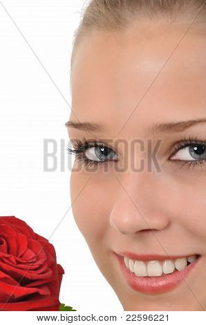Young Woman with Rose looks into the camera