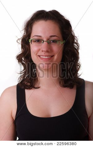 Young Brunette In Black Tank Top Wearing Glasses