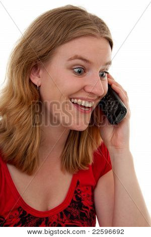 Woman On The Phone Is Very Happy