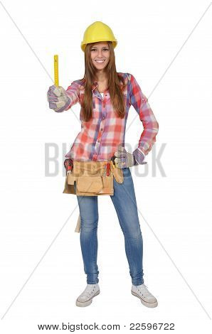 Craftswoman holding a yellow ruler