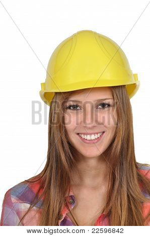 Young woman with a yellow helmet