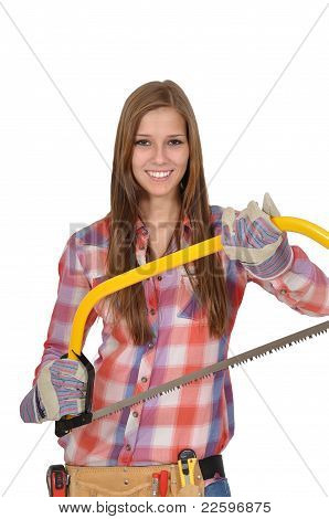 Young woman showing a big saw
