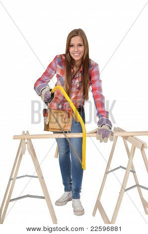 Young woman with yellow Hacksaw