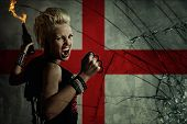 foto of brass knuckles  - Punk girl with Molotov cockatail against England flag - JPG