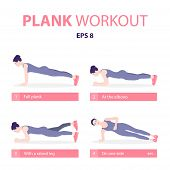Set Of Young Woman Planking In Various Poses: Elbow Plank, Side Plank, With A Raised Leg, Full Plank poster